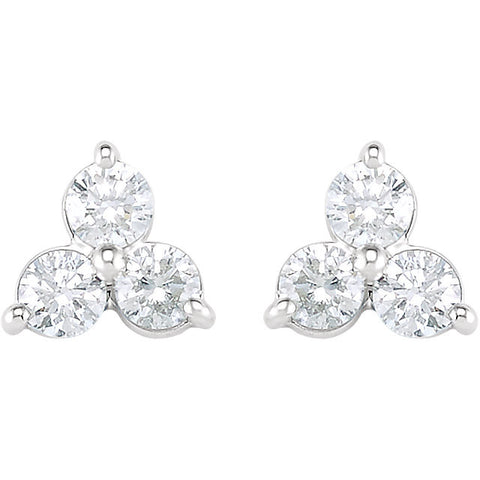 14k White Gold 1 1/5 CTW Three-Stone Diamond Earrings