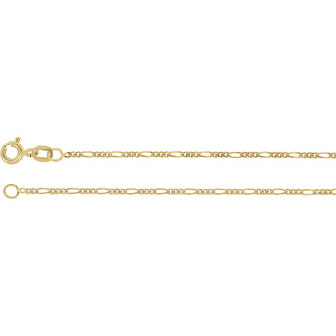 1.25 mm Solid Figaro Chain in 14k Yellow Gold ( 24-Inch )