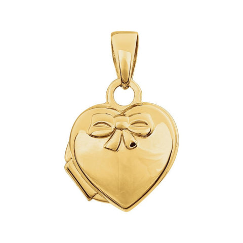 14k Yellow Gold Heart Embossed Bow Locket