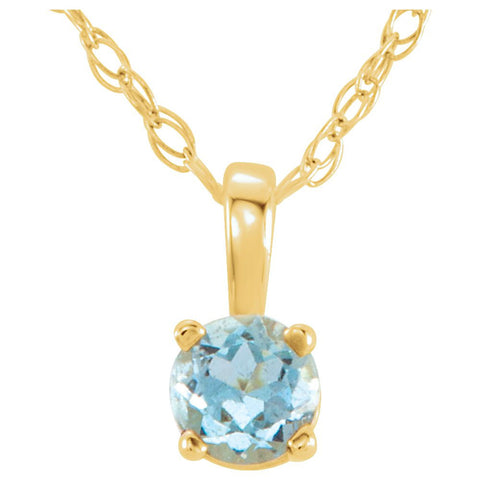 "14k Yellow Gold Imitation Aquamarine ""March"" Birthstone 14-inch Necklace for Kids"
