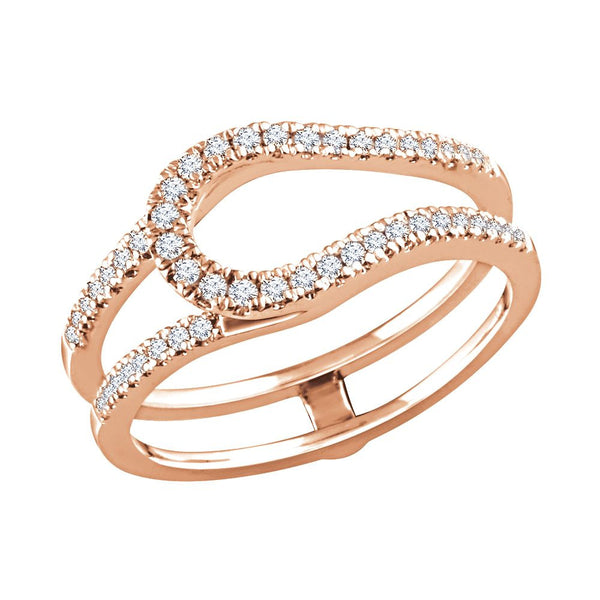 14k Rose Gold 1/3 CTW Diamond Ring Guard, Size 7