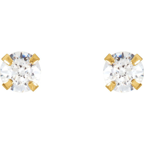 14k Yellow Gold 3mm Youth CZ Earrings