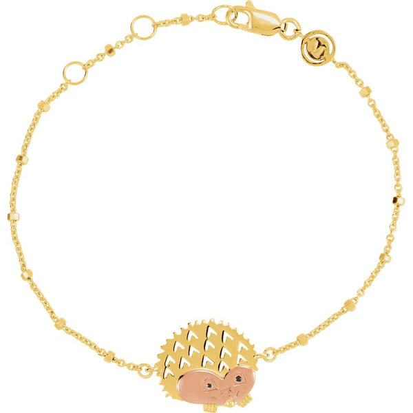 "18k Yellow Gold & Rose Vermeil Hedgehog 7.5"" Bracelet for Protection"