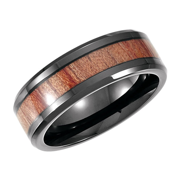 Cobalt 8mm Design Band with Rosewood Inlay Size 14