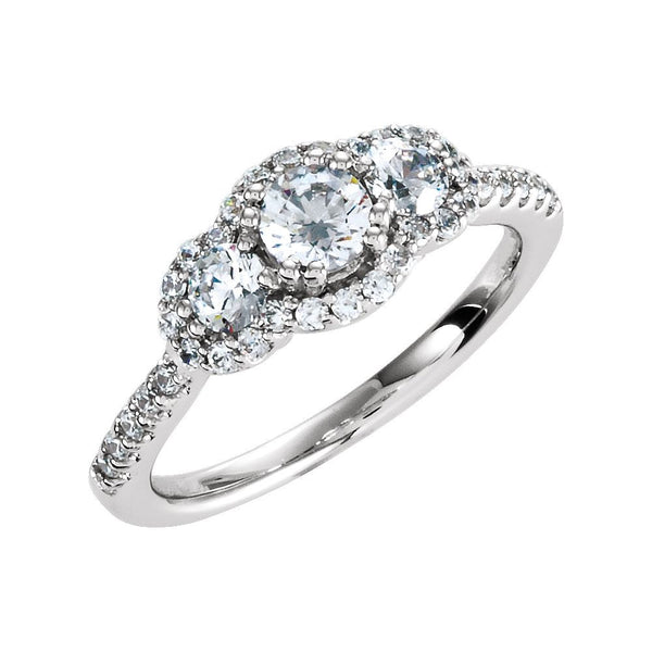 Sterling Silver Halo-Style 3-Stone Cubic Zirconia Ring Size 8