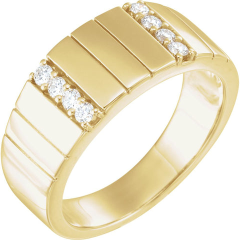 14k Yellow Gold Accented Duo Band , Size 11