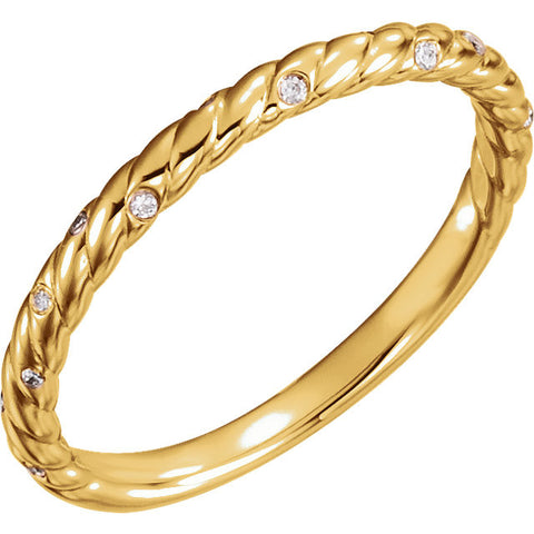 14k Yellow Gold 0.04 ctw. Diamond Rope Anniversary Ring, Size 7