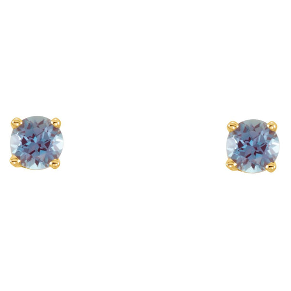 14k Yellow Gold Imitation Alexandrite Youth Earrings