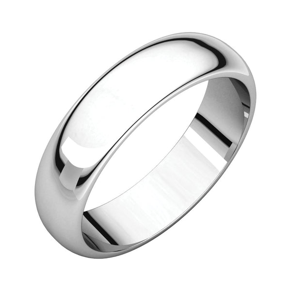 Sterling Silver 5mm Half Round Band, Size 8.5