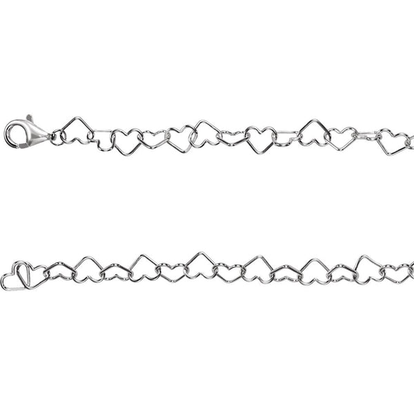 "Sterling Silver 6mm Heart Link 20"" Chain"
