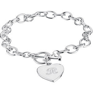 7 mm Cable Bracelet with Toggle Clasp and Heart Charm in Sterling Silver ( 8 Inch )