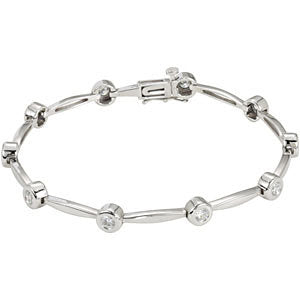 14K White Gold 1 CTW Diamond Line 7.5-Inch Bracelet