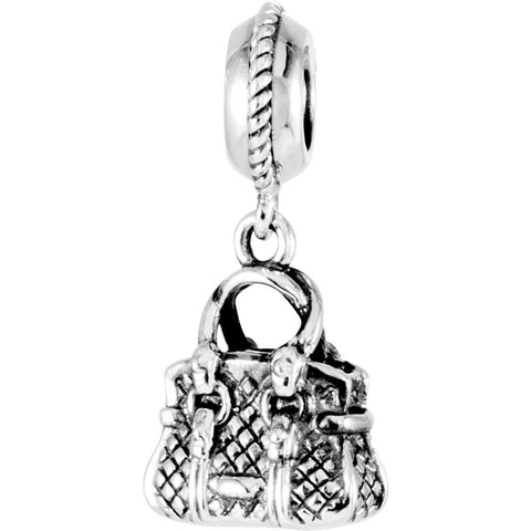 Sterling Silver 14.5x11mm Kera Purse Charm