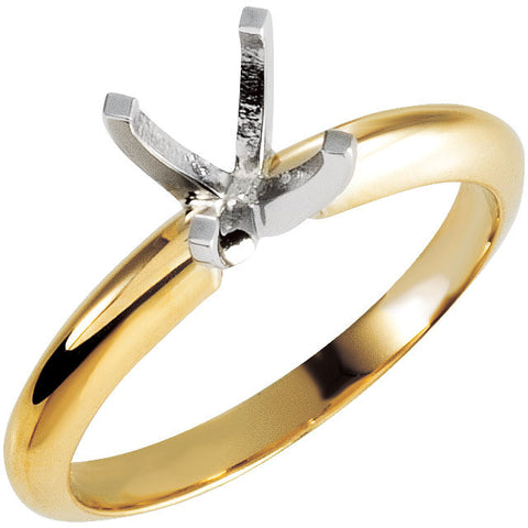14K Yellow Gold/White 1 Ct Round 4-Prong Light Solitaire Mounting (Size 6)