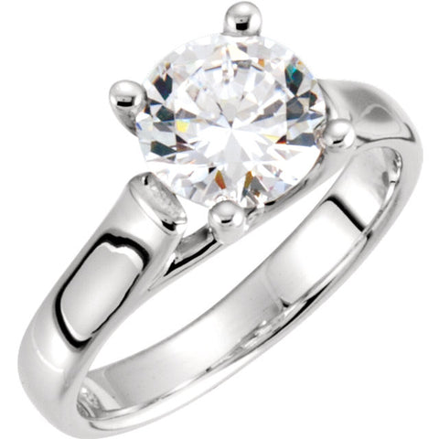 14k White Gold Cubic Zirconia Engagement Ring, Size 7
