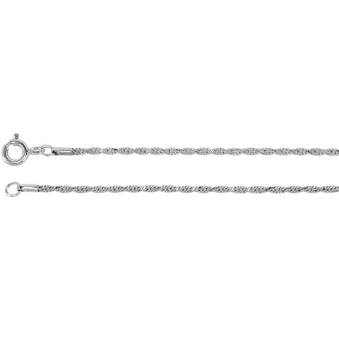1.5 mm Diamond-Cut Rope Chain in Sterling Silver ( 16-Inch )