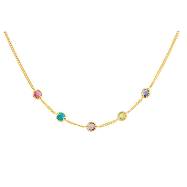 "18K Yellow Gold Vermeil Pink Tourmaline, Turquoise, Amethyst, Peridot & Iolite 16"" Necklace"