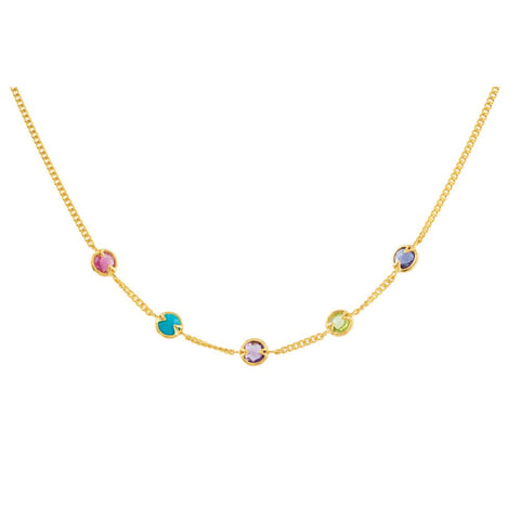 Pink Tourmaline, Turquoise, Amethyst, Peridot & Iolite 16-inch Necklace in 18k White Gold Plated Silver
