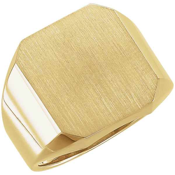 14k Yellow Gold 16x18mm Men's Signet Ring , Size 10