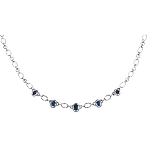 3/4 CTTW Genuine Blue Sapphire and Diamond Necklace in 14k White Gold ( 18.00-Inch )