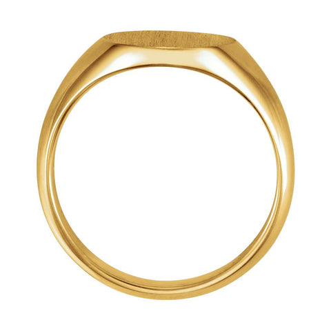 10k Yellow Gold 12x10mm Oval Signet Ring, Size 6