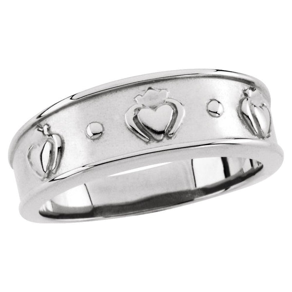 14k White Gold 8.25mm Men's Claddagh Band, Size 11