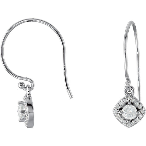 Pair of 3/8 CTTW Halo-Styled Dangle Earrings with Cushion Frame in 14k White Gold