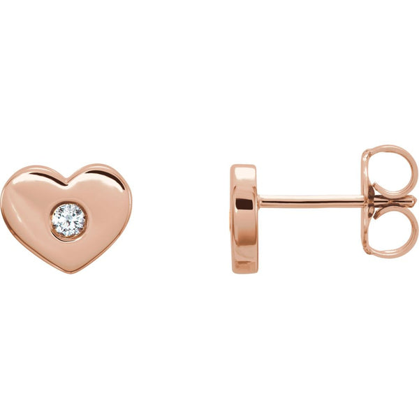 14k Rose Gold .06 CTW Diamond Heart Earrings