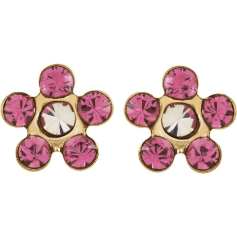 "14k Yellow Gold Imitation ""October"" Youth Birthstone Flower Inverness Piercing Earrings"