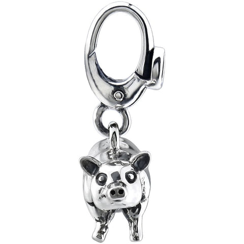Sterling Silver 21x17mm Pig Charm
