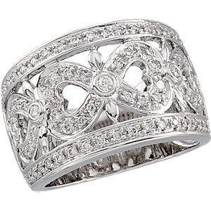 1/2 CTTW Openwork Diamond Wedding Band Ring in 14k White Gold ( Size 6 )