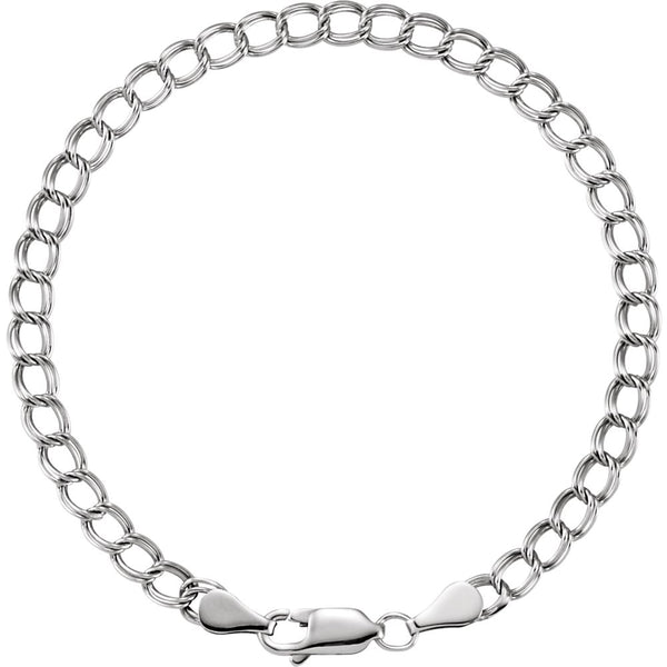 "14k White Gold 4mm Solid Charm 7"" Bracelet"