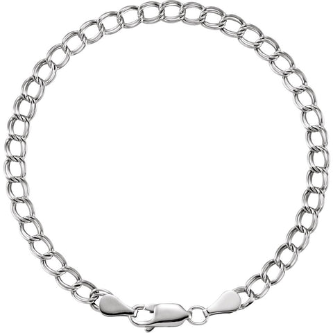 4 mm Solid Charm Bracelet in 14k White Gold ( 7 Inch )