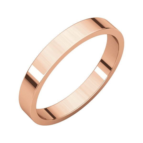 10k Rose Gold 3mm Flat Band, Size 7