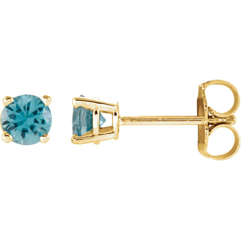 14k Yellow Gold 2.5mm Round Sky Blue Topaz Earrings