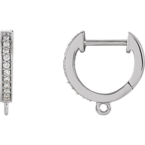 14k White Gold 1/10 CTW Diamond Accented Preset Click-In Earrings with Ring