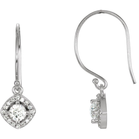 Pair of 5/8 CTTW Halo-Styled Dangle Earrings with Cushion Frame in 14k White Gold