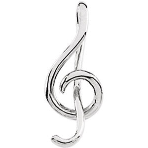 14k White Gold Treble Clef Pendant