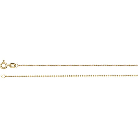1.0 mm Solid, Bead Chain in 14k Yellow Gold ( 16-Inch )
