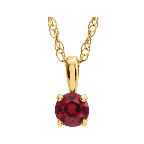 "14k Yellow Gold Imitation Ruby ""July"" Birthstone 14-inch Necklace for Kids"