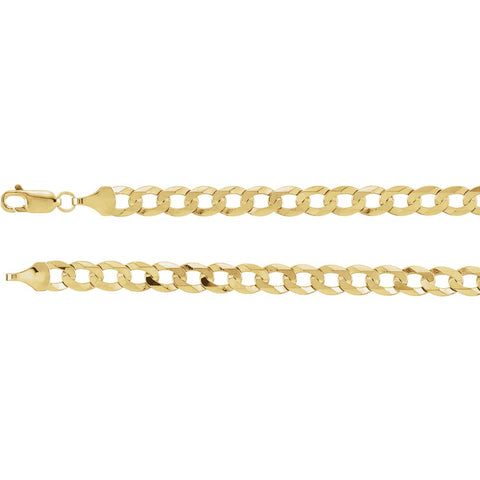 6.25 mm Solid Curb Chain in 14k Yellow Gold ( 24-Inch )