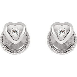 14k White Gold Youth Heart Cubic Zirconia Earrings