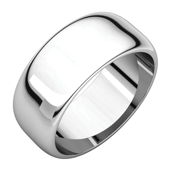 Sterling Silver 8mm Half Round Band, Size 6