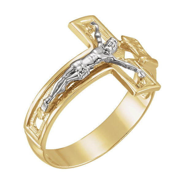 14k White/Yellow Gold Men's Crucifix Ring, Size 11