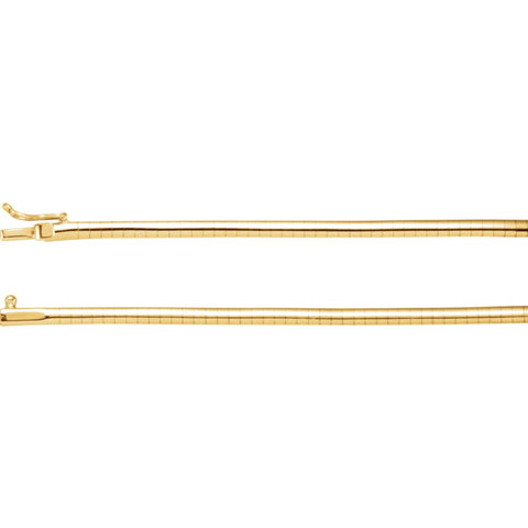 14K Yellow Gold 3mm Omega 18-Inch Chain