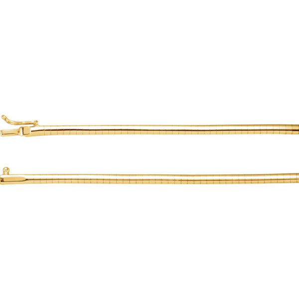 "14k Yellow Gold 3mm Omega 16"" Chain"