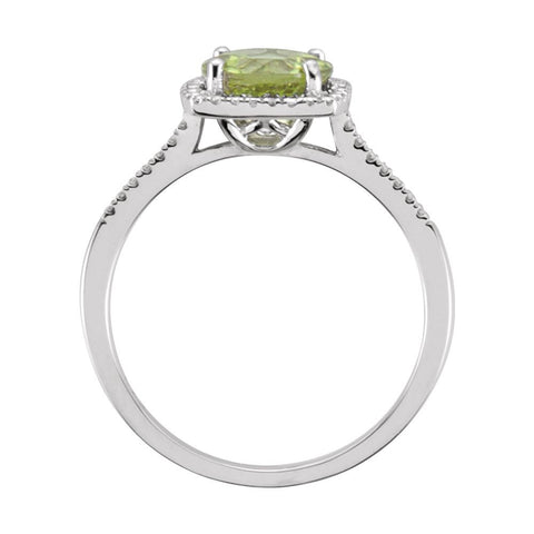Sterling Silver Peridot & .01 CTW Diamond Ring, Size 8