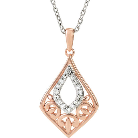 "14K Rose Gold-Plated Sterling Silver 1/10 CTW Diamond 18"" Necklace"