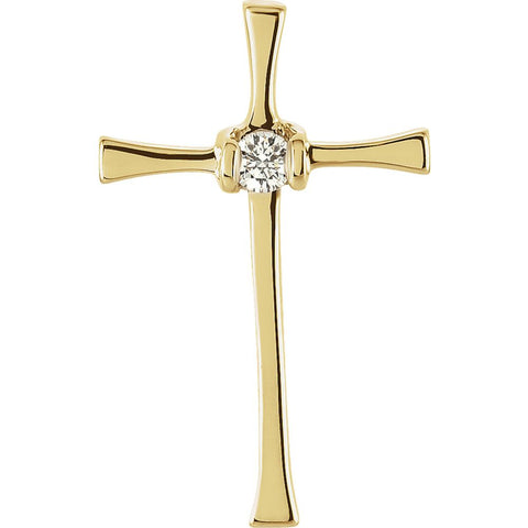 14k White Gold .05 CTW Diamond Cross Pendant