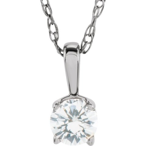 "14k White Gold Imitation Diamond ""April"" Birthstone 14-inch Necklace for Kids"